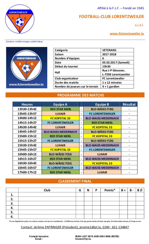 Tournoi VETERANS - Futsal