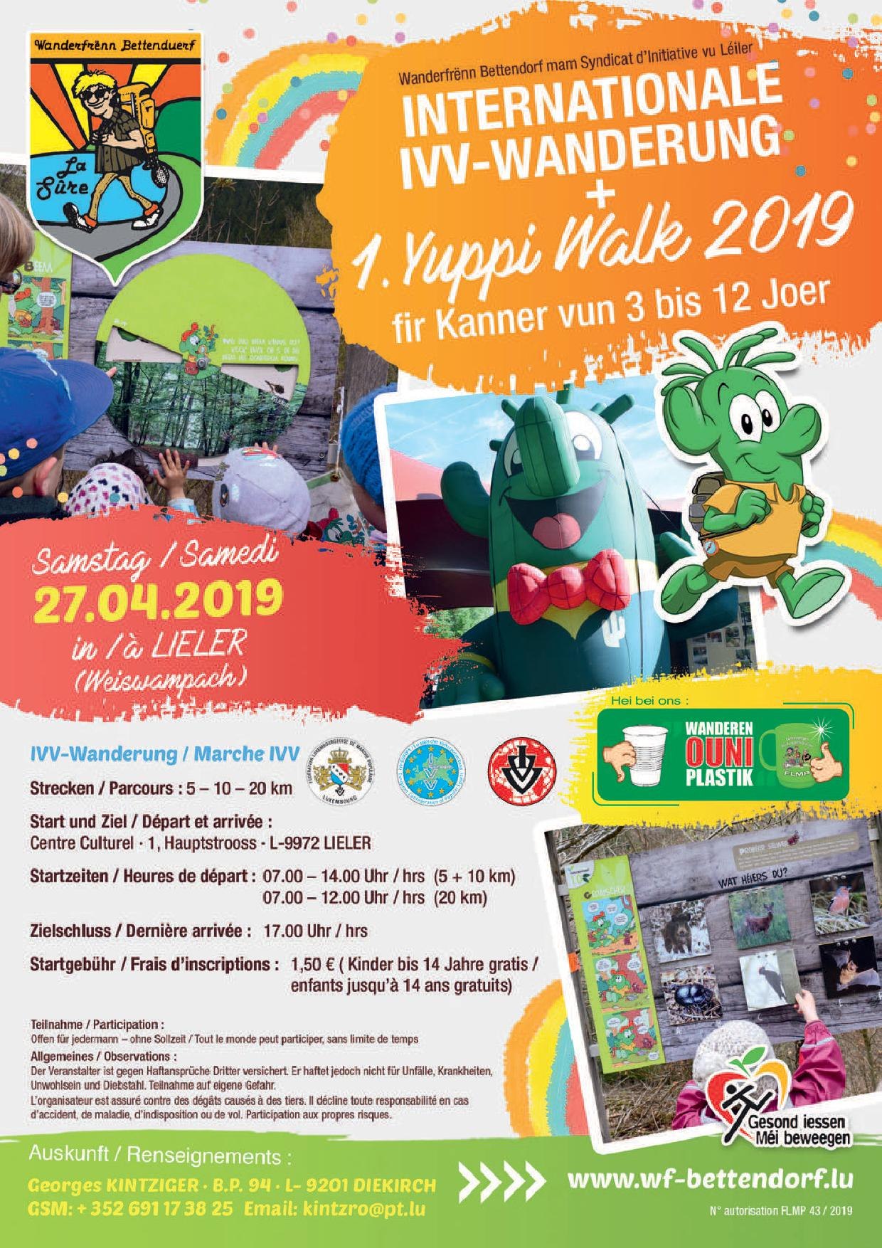 LIELER FLMP IVV WANDERUNG + 1. Yuppi Walk 2019