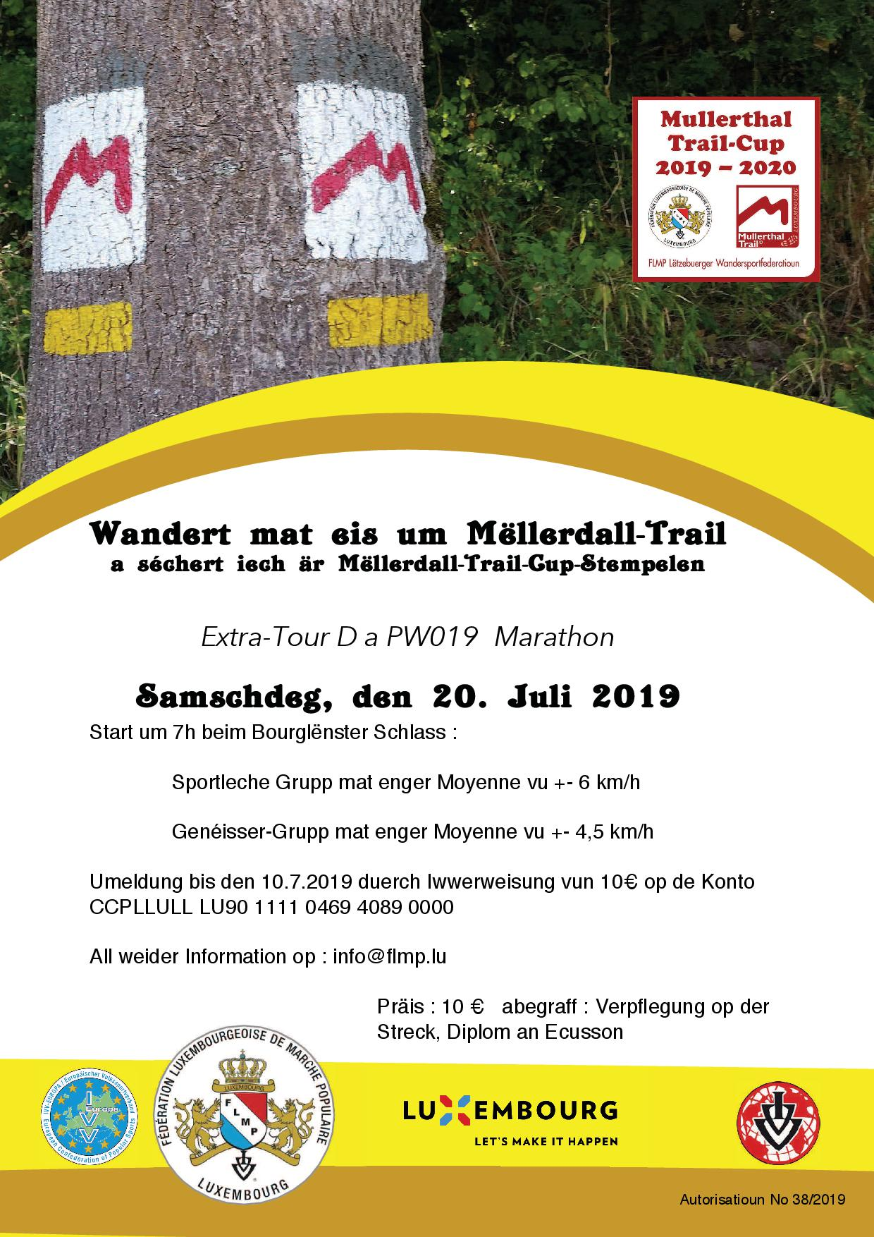 BOURGLINSTER Flmp Ivv geféierten Mëllerdall-Trail Marathon