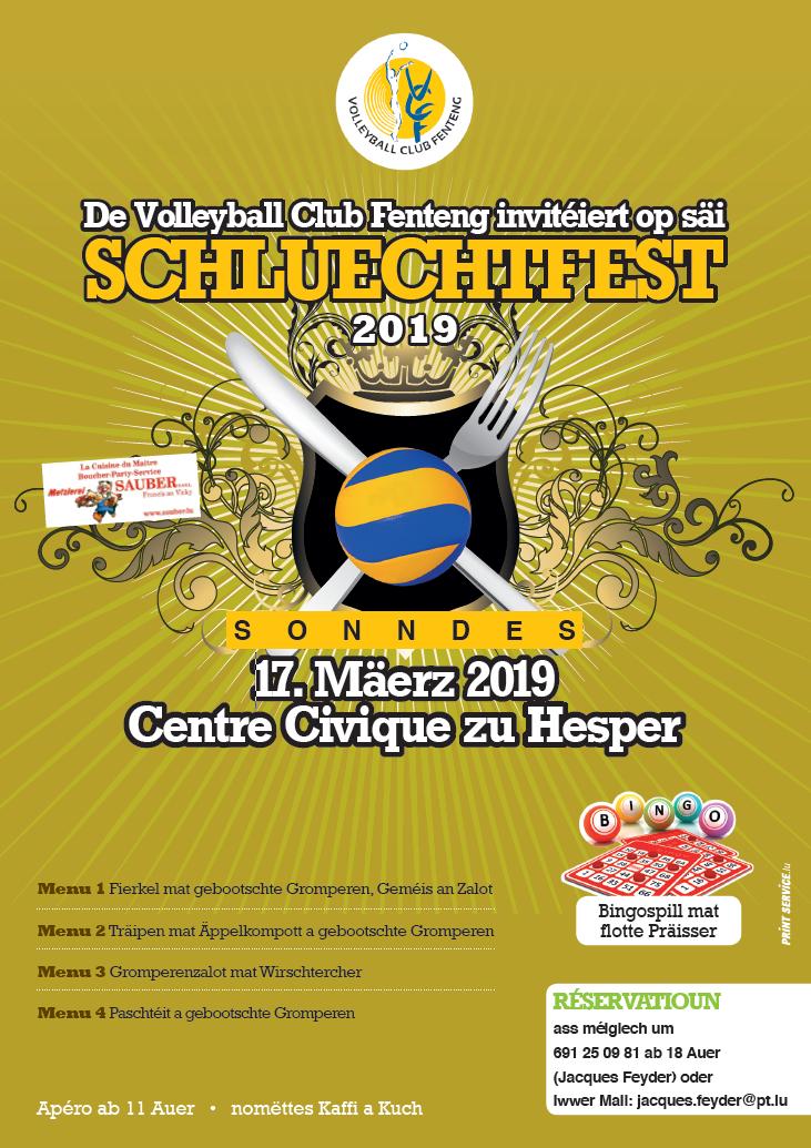 Schluechtfest vum Volleyball Club Fenteng den 17. Mäerz 2019 am Centre Civique zu Hesper