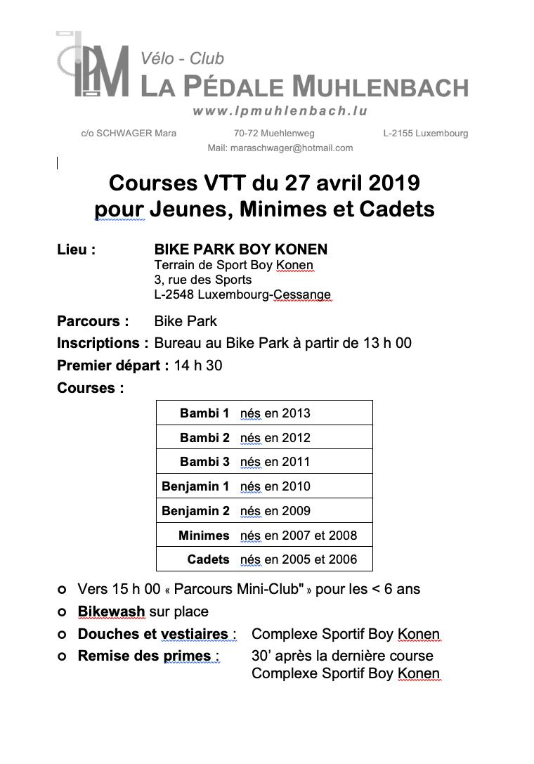 EPREUVE JEUNES + MINIMES/CADETS LP MUHLENBACH