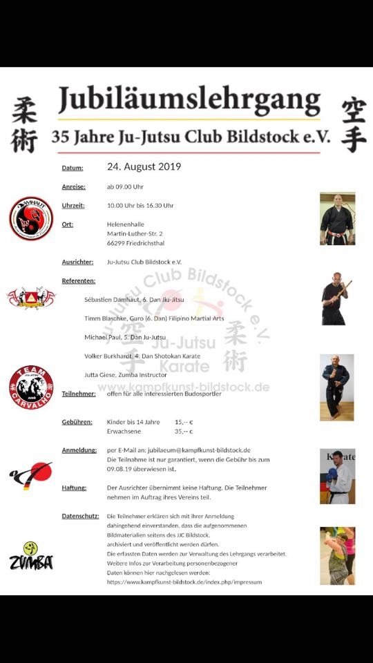 Jubiläumslehrgang 35 Jahre Ju-Jutsu Club Bildstock