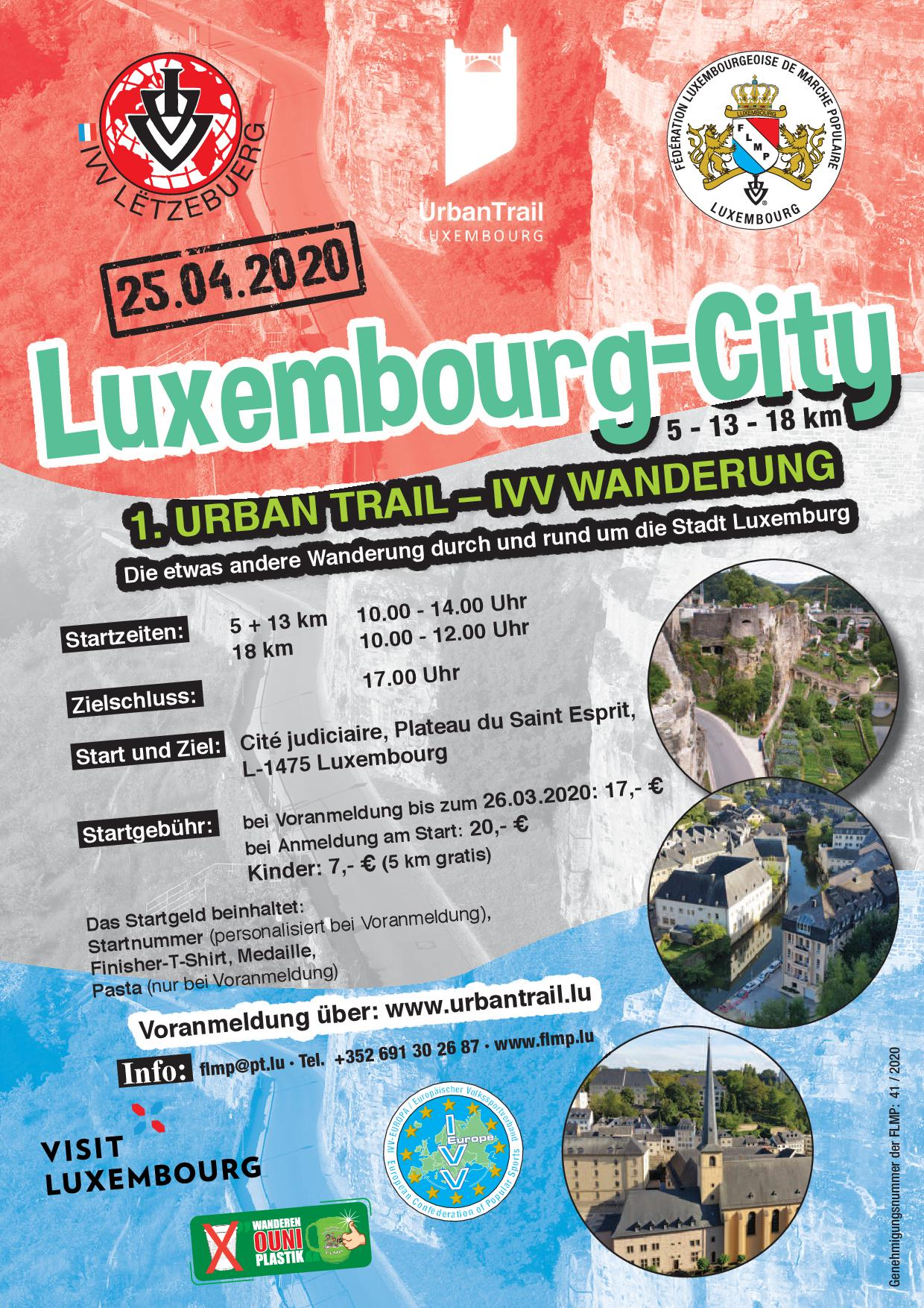 ANNULATION/ABSAGE LUXEMBOURG FLMP IVV URBAN-TRAIL-WANDERUNG