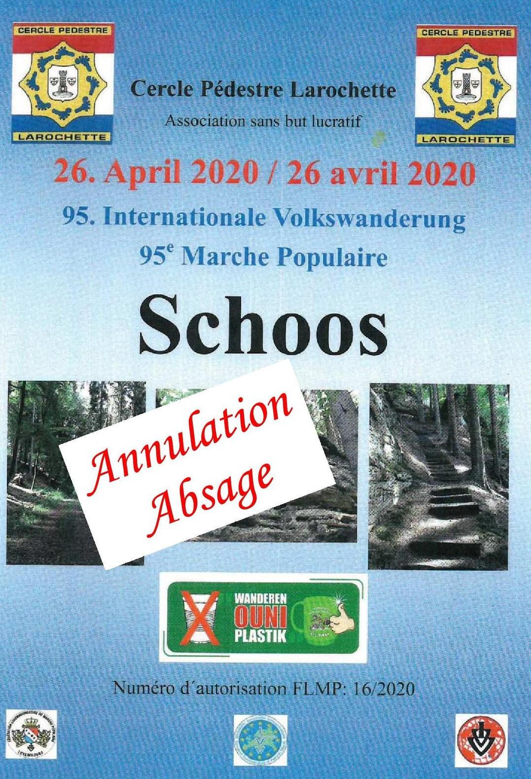 ANNULATION/ABSAGE SCHOOS FLMP IVV WANDERUNG