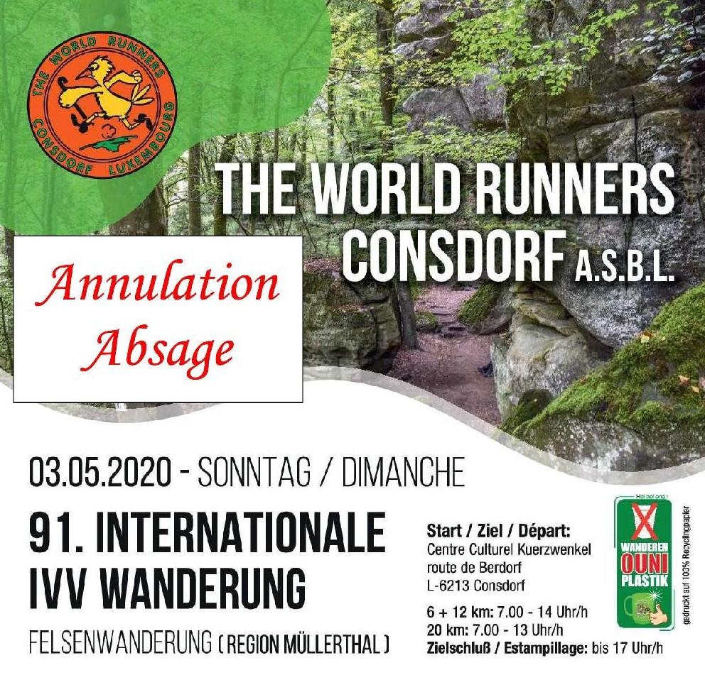 ANNULATION/ABSAGE CONSDORF FLMP IVV WANDERUNG