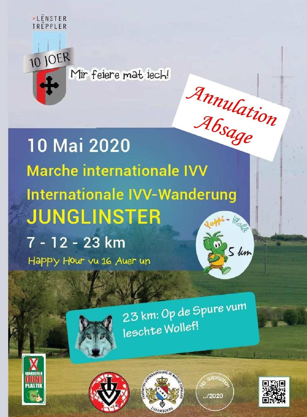 ANNULATION/ABSAGE JUNGLINSTER FLMP IVV WANDERUNG + YUPPI WALK