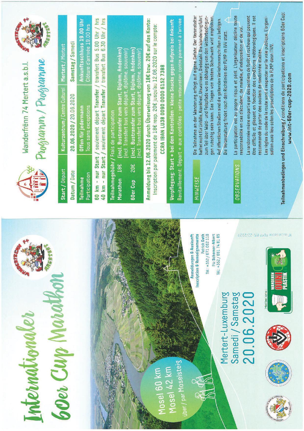 ANNULATION ABSAGE MERTERT FLMP IVV 60er Cup Marathon