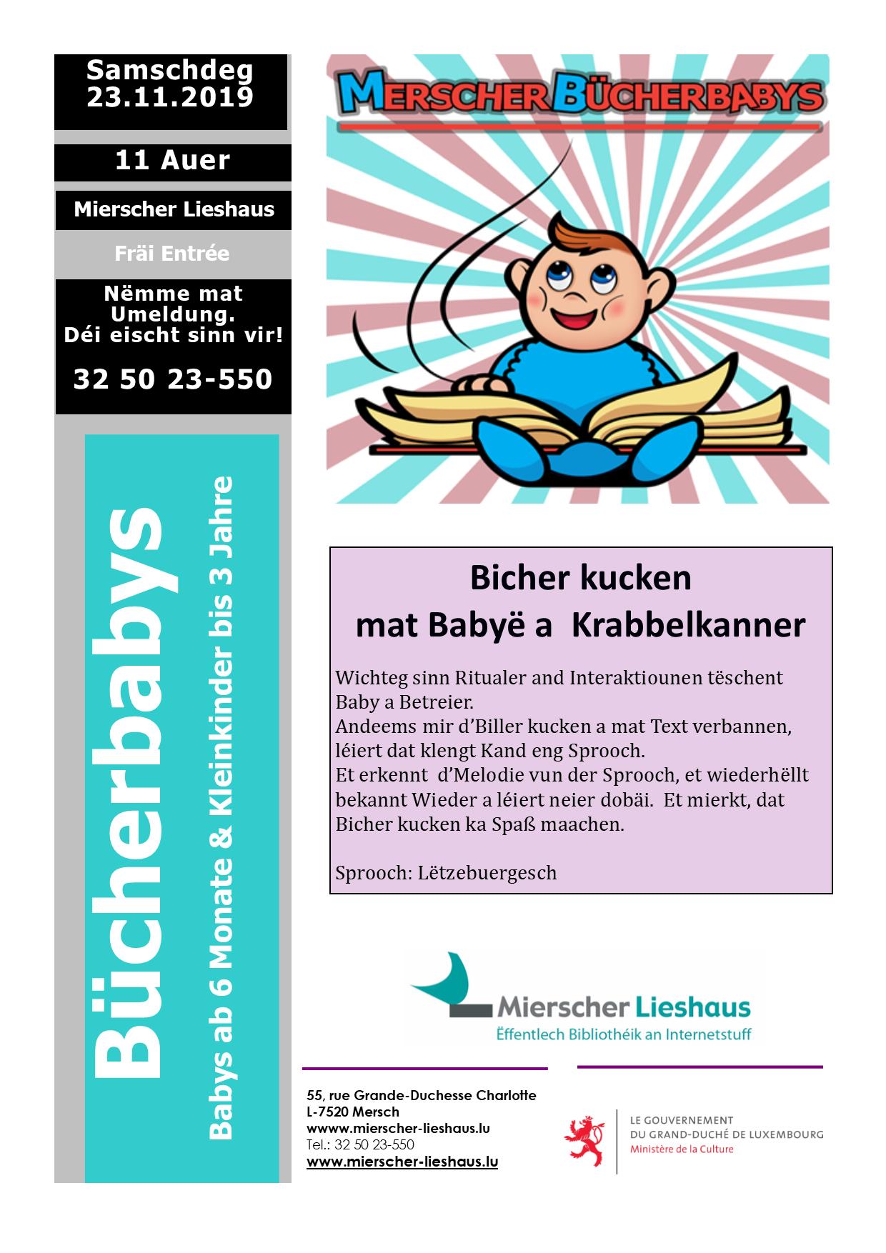 BÜCHERBABYS-Lesung für Babys ab 6 Monaten und Kleinkinder bis max. 3 Jahren