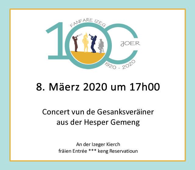 100 Joer Izeger Musek: Gesanksconcert an der Izeger Kierch