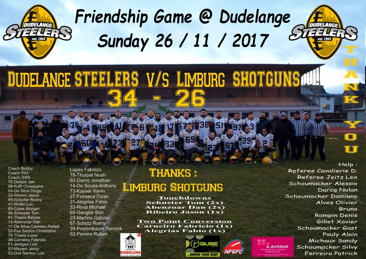 Luxembourg STEELERS of Dudelange vs. Limburg SHOTGUNS (26.11.2017)