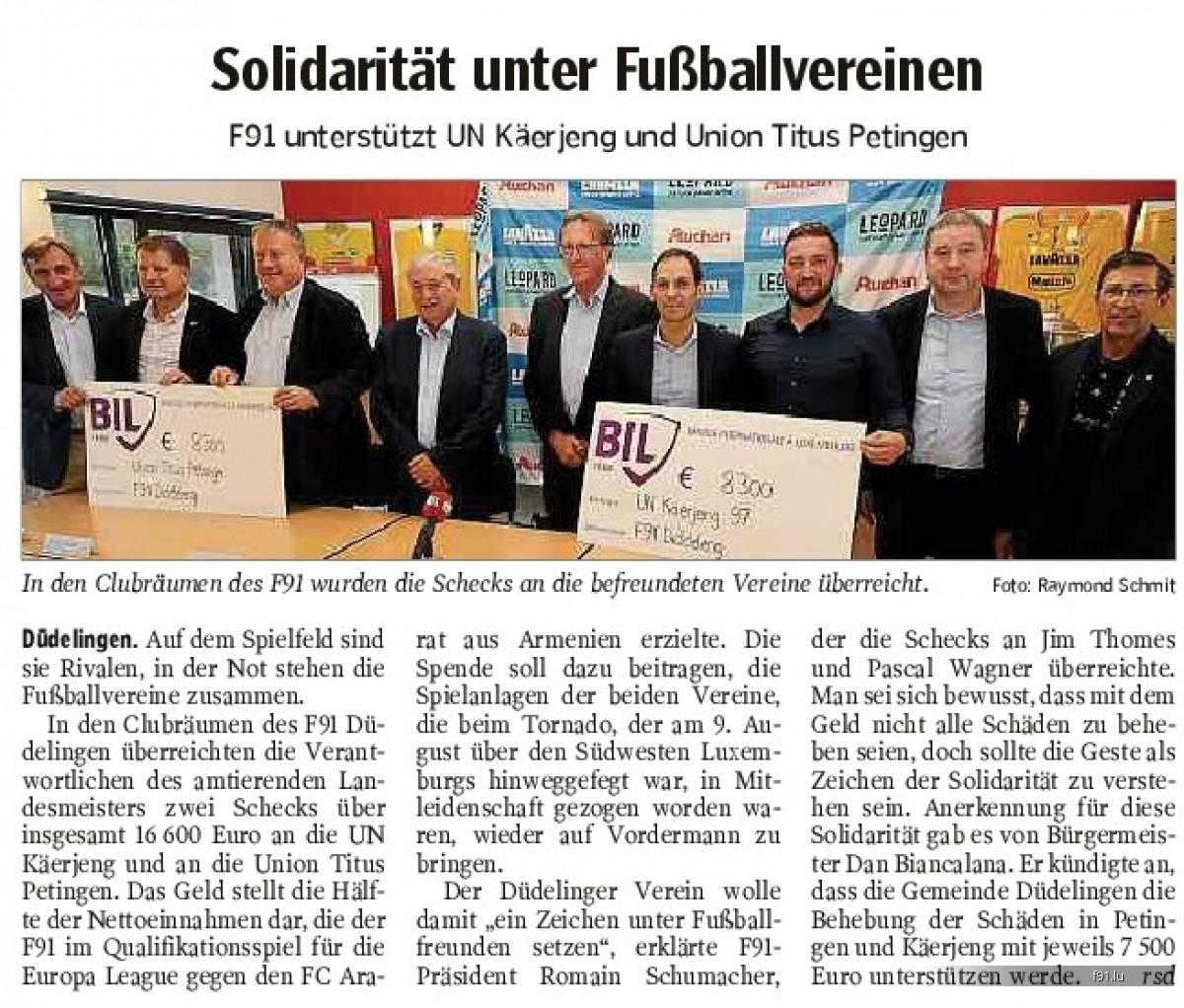 Solidarität unter Fussballvereinen