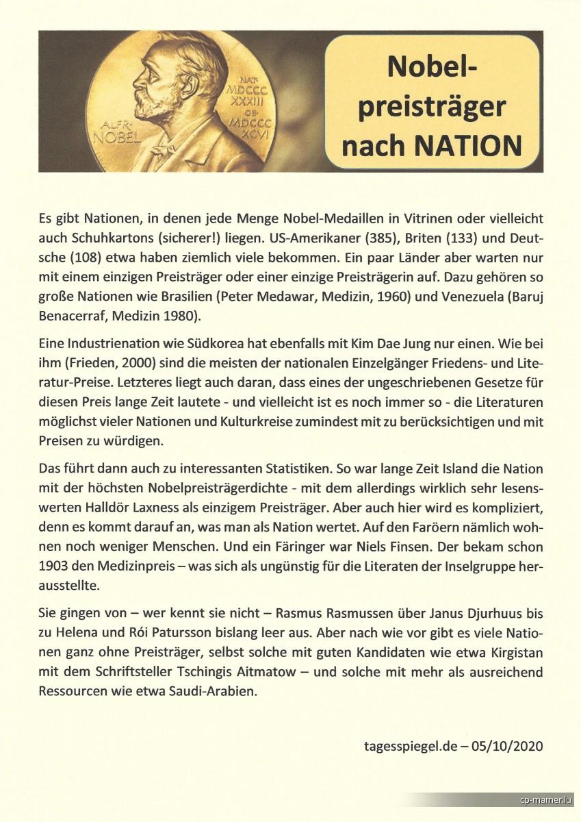 Nobelpreis - Nobelpreisträger nach Nation