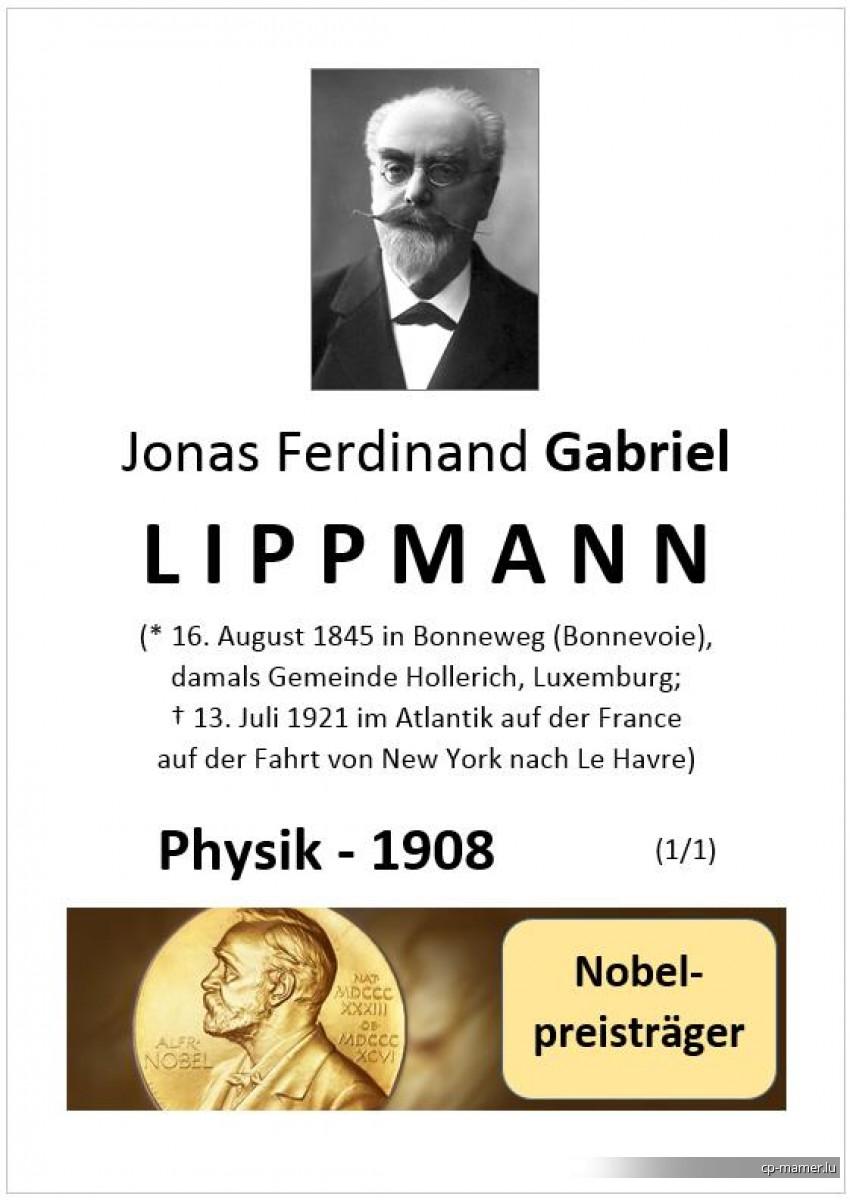 Nobelpreis - LIPPMANN Gabriel (1845-1921)