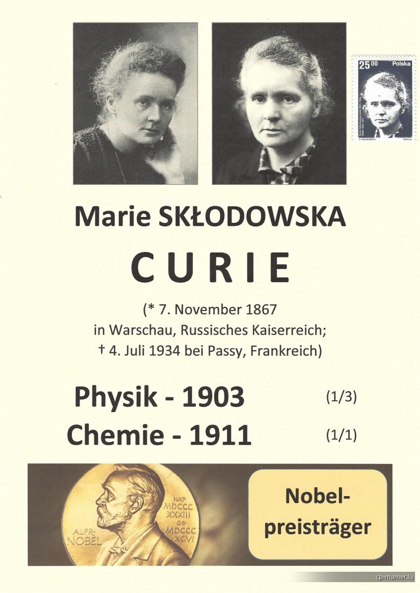 Nobelpreis - CURIE Marie (1867-1934)