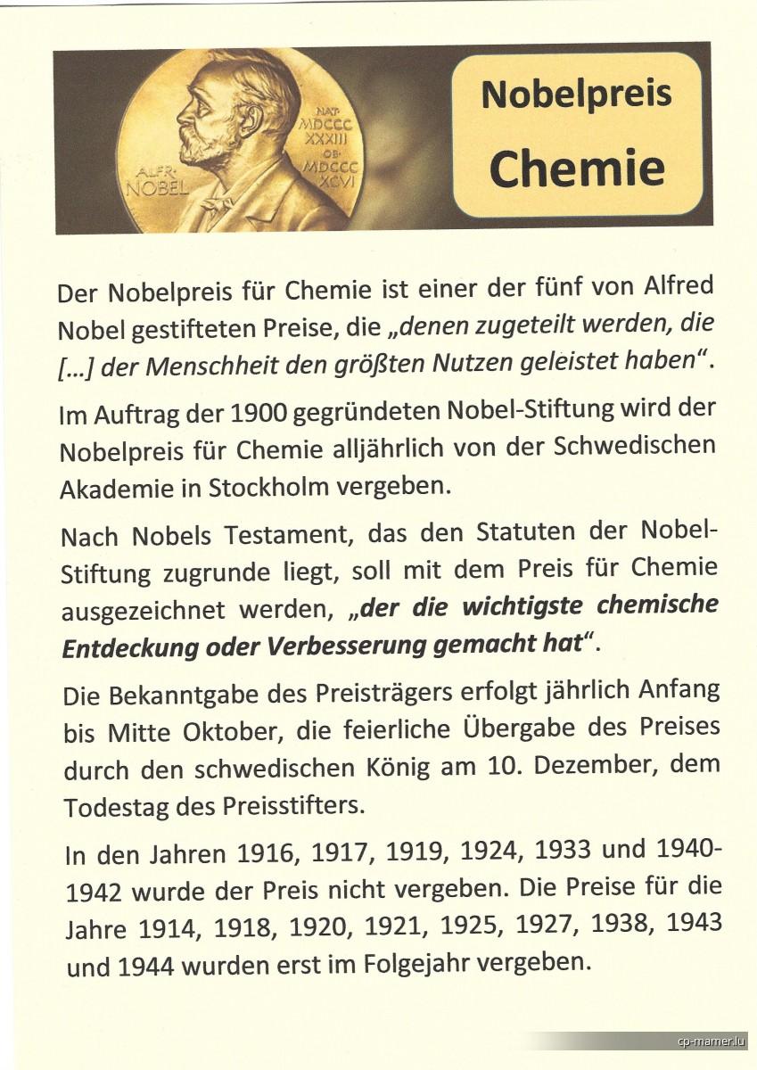Nobelpreis - Nobelpreisträger für Chemie