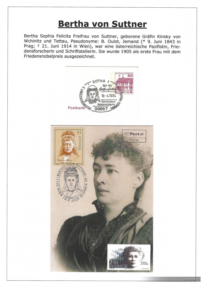 Nobelpreis - VON SUTTNER Bertha (1843-1914)