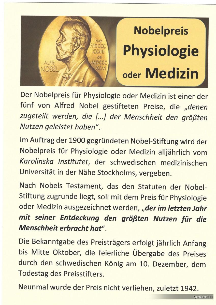 Nobelpreis - Nobelpreisträger für Physiologie oder Medizin
