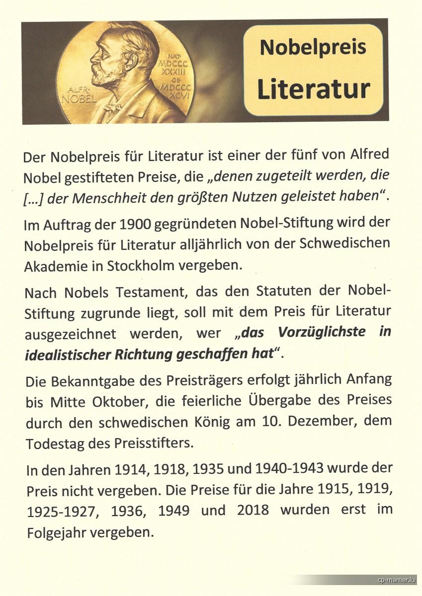 Nobelpreis - Nobelpreisträger für Literatur