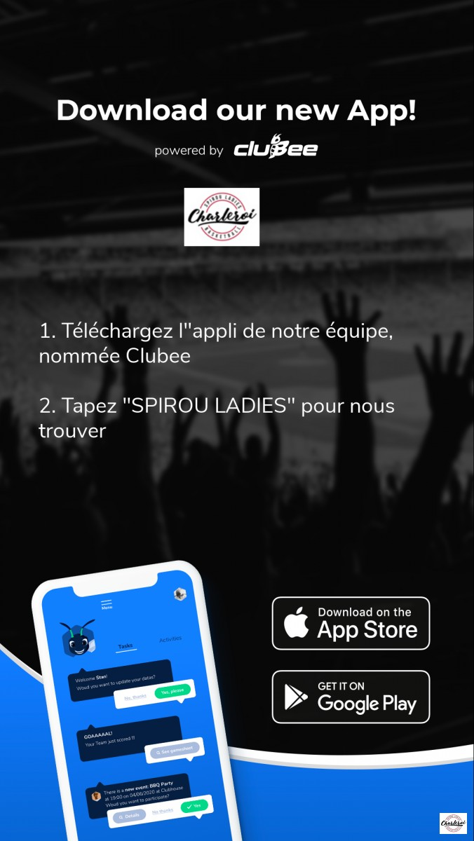 Application clubee Spirou Ladies Charleroi