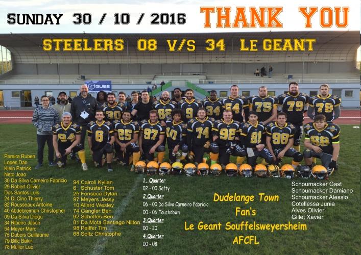 Luxembourg Steelers vs. Le GEANT de Souffelsweyersheim (30.10.2016)