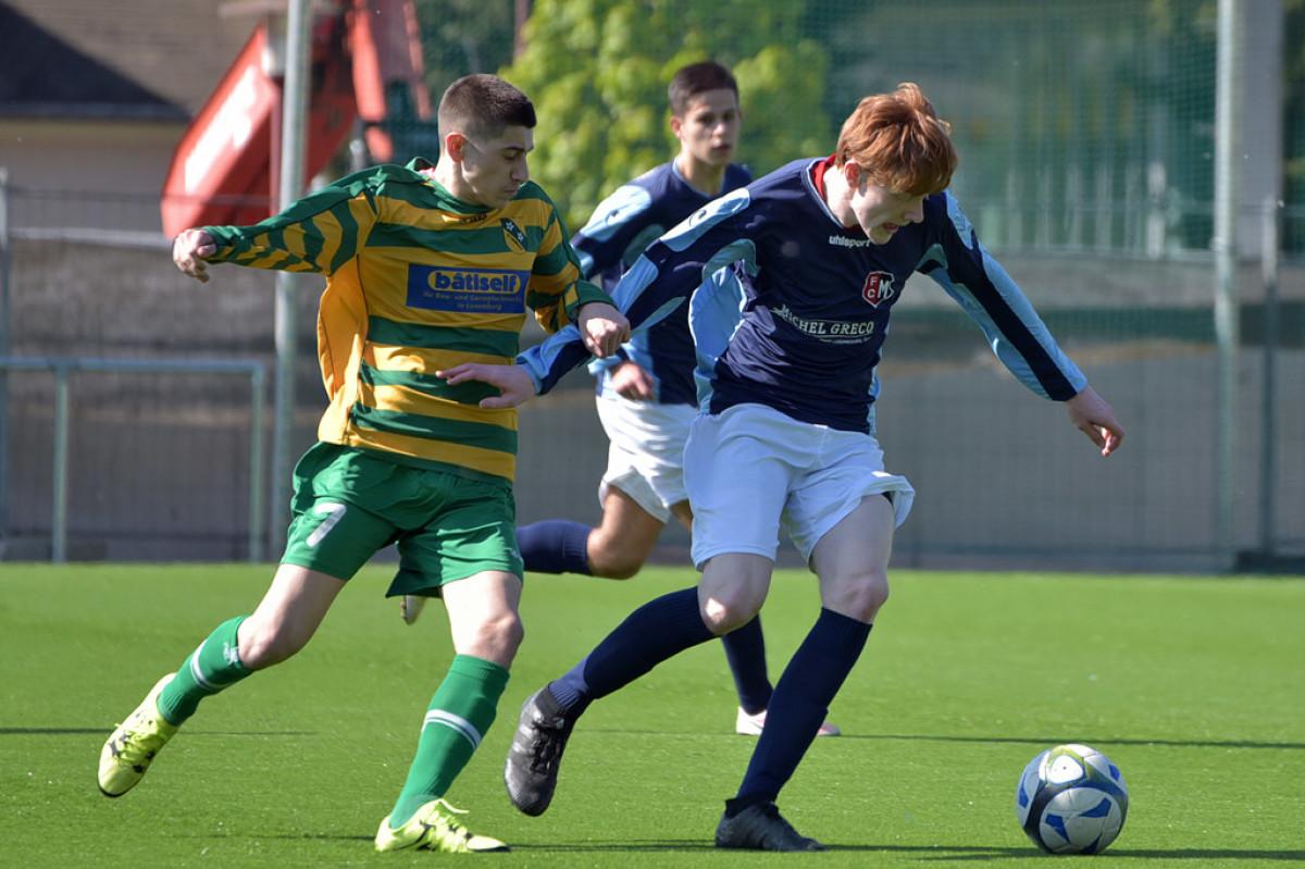FC Schëffleng 95 - FC Monnerech 2-0 ofgegrach an der 85. Minutt