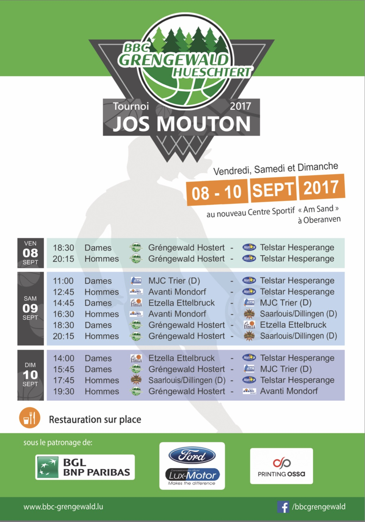 Tournoi Jos Mouton 9.-11. September 2017