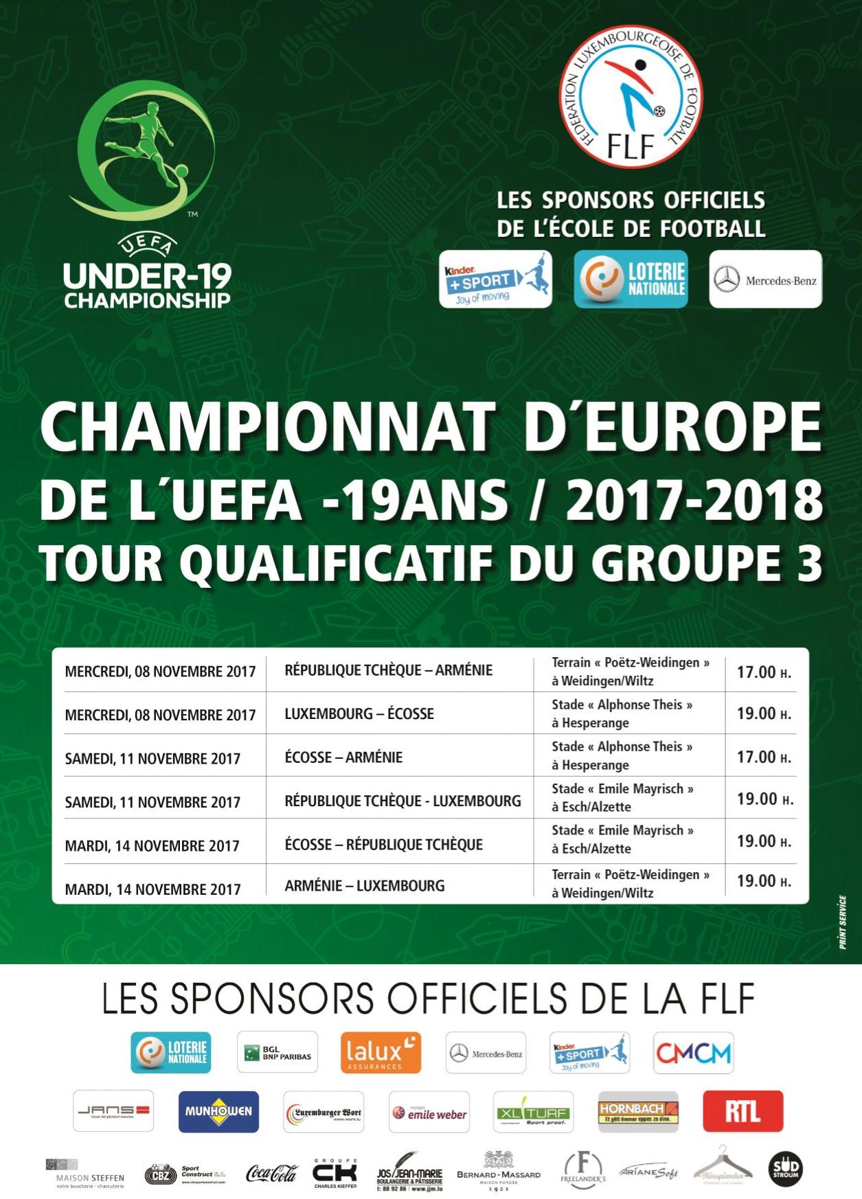 17ième CE-19 ans de l'UEFA, tour de qualification, 08.11 - 14.11.2017