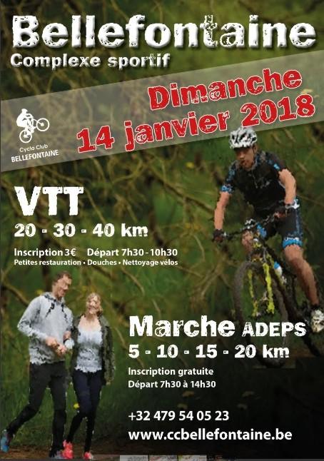 Randonnée Cyclo Club Bellefontaine,  Dimanche 14 janvier 2018