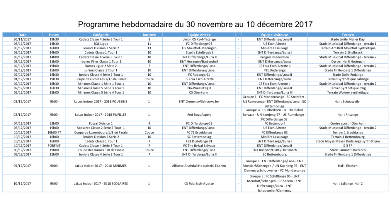 Programme 30.11 - 10.12