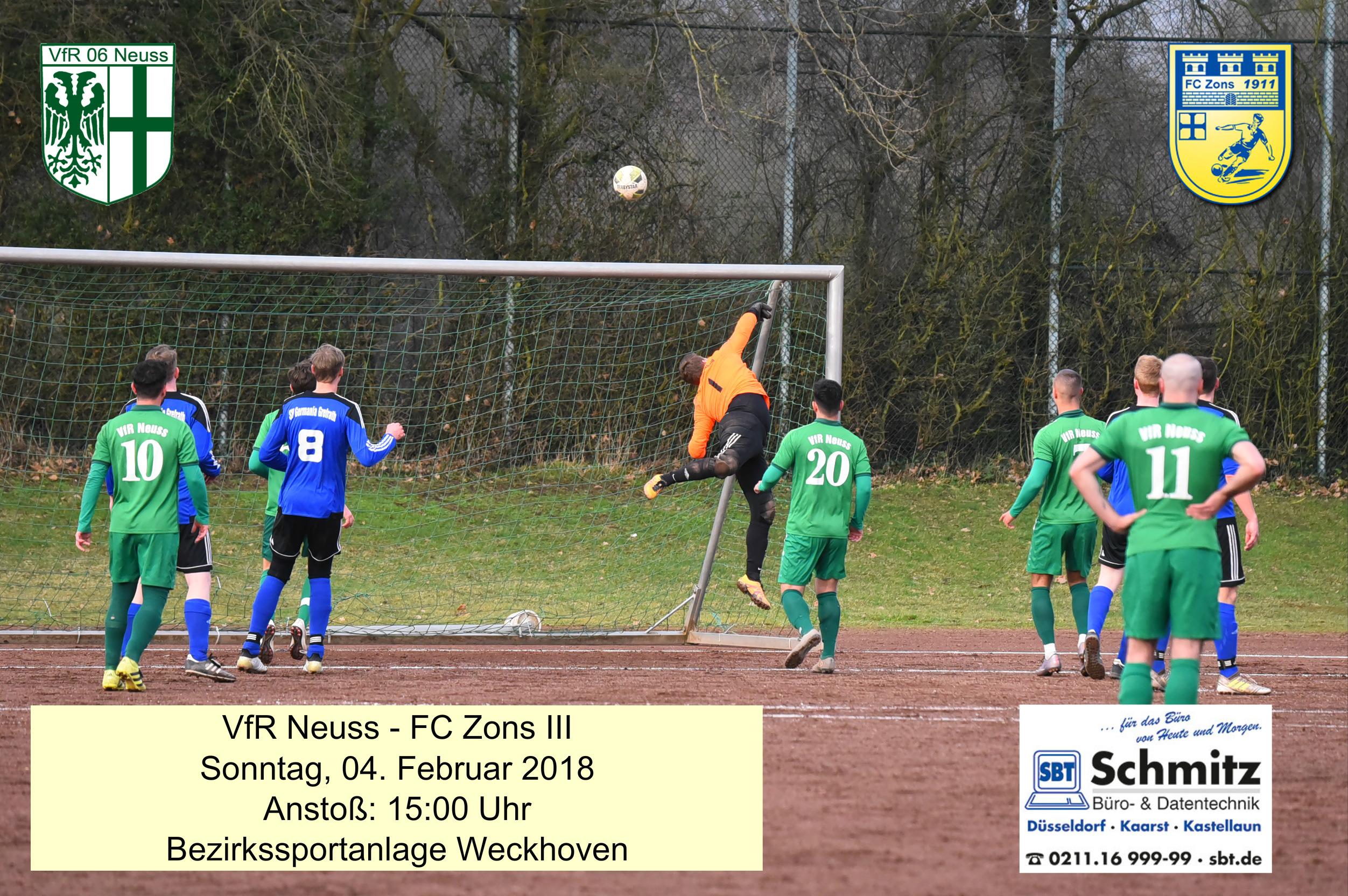 Am Sonntag geht es für den VfR Neuss gegen den FC Zons wieder um Punkte.