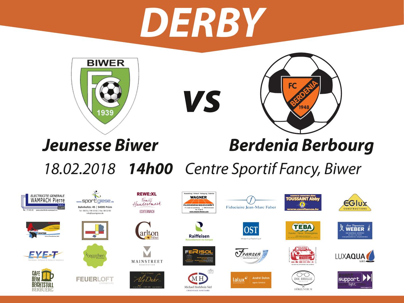 SENIORS 1: Derby géint Biwer den 18.02 um 14h00