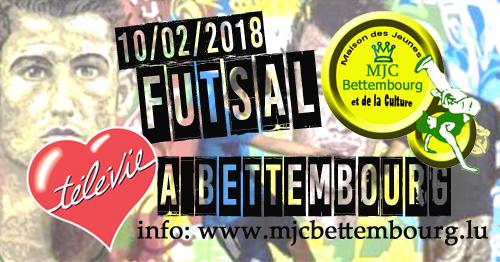 Télévie Futsal-Turnéier - Samschdeg, 10.02 - Sportshal Beetebuerg