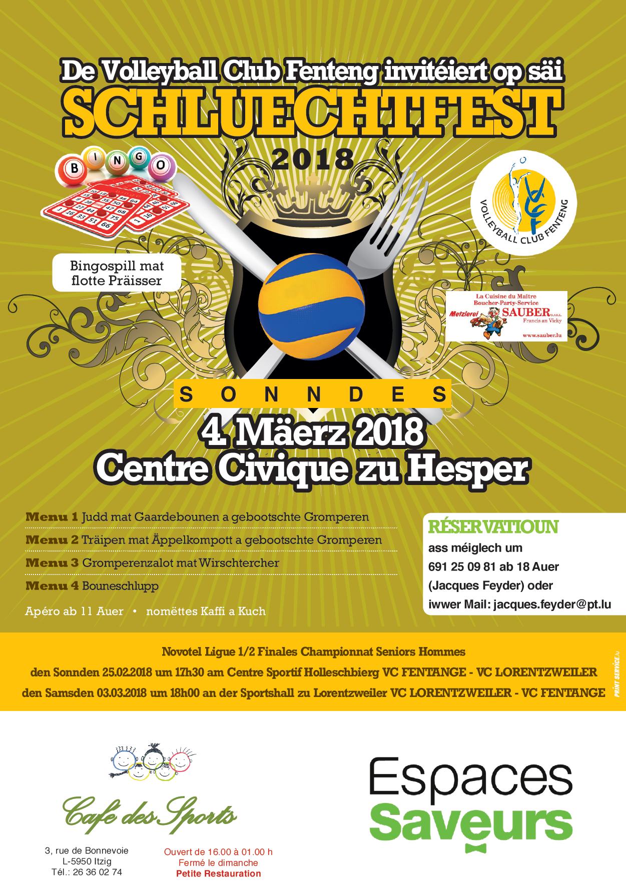 Schluechtfest vum Volleyball Club Fenteng den 4. Mäerz 2018 am Centre Civique zu Hesper