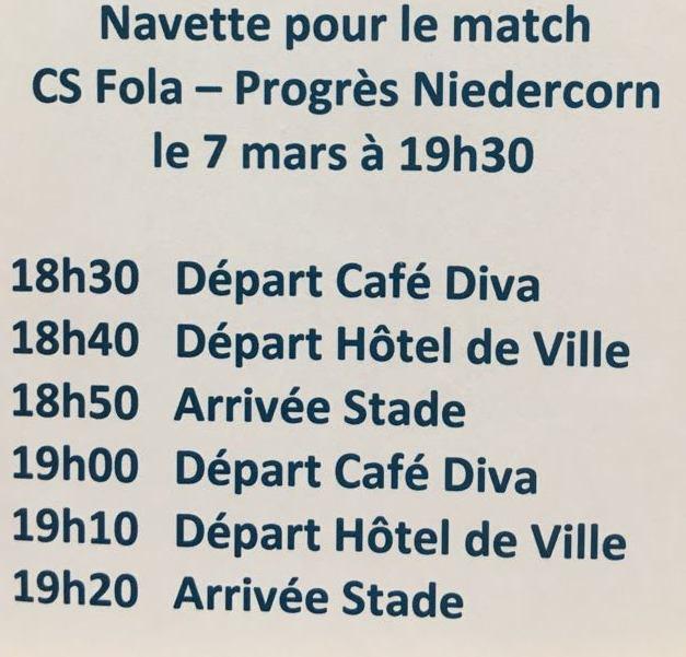 Navette pour le match du 7 mars 2018