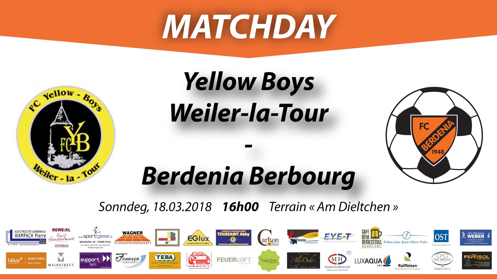 MATCHDAY: FC Yellow Boy Weiler-la-tour - FC Berdenia Berbourg