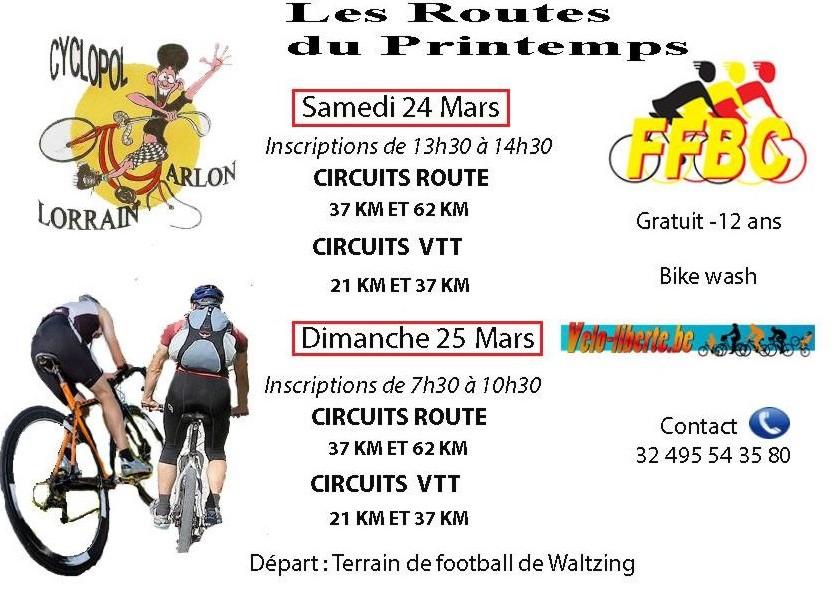 Waltzing randonnée  vélo de route/VTT le 24 et 25 mars