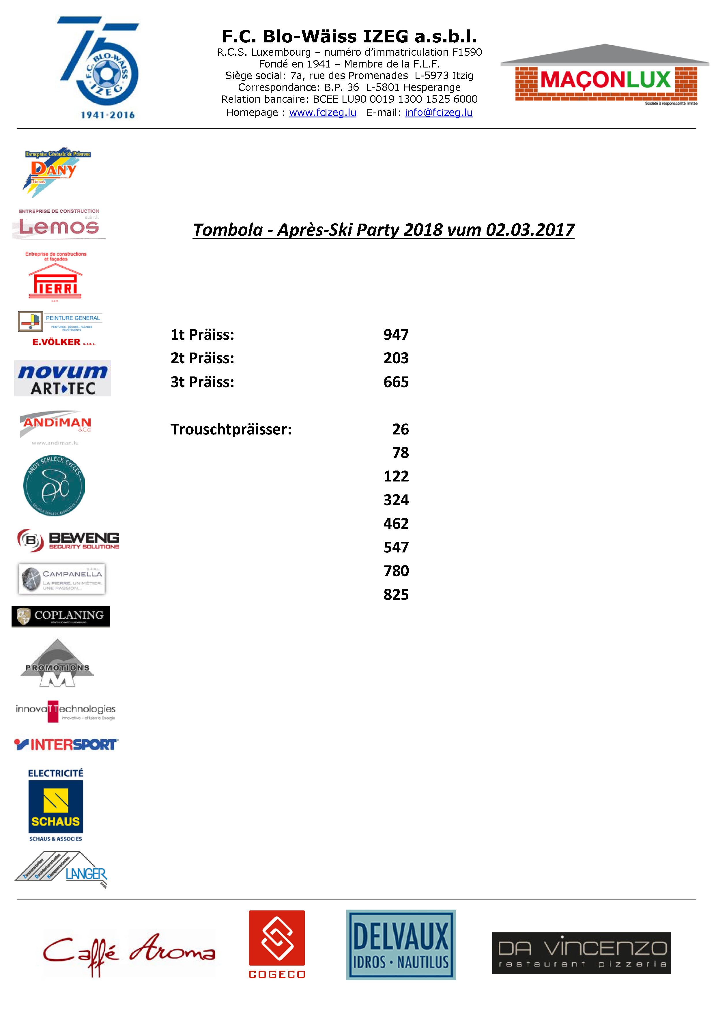 TOMBOLA - APRES-SKI PARTY XXL 2018