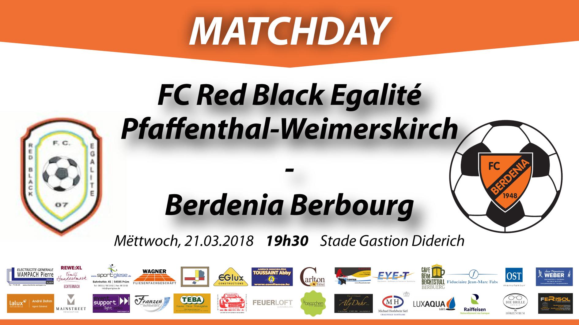 MATCHDAY: FC Red Black Egalité Pfaffenthal-Weimerskirch - FC Berdenia Berbourg