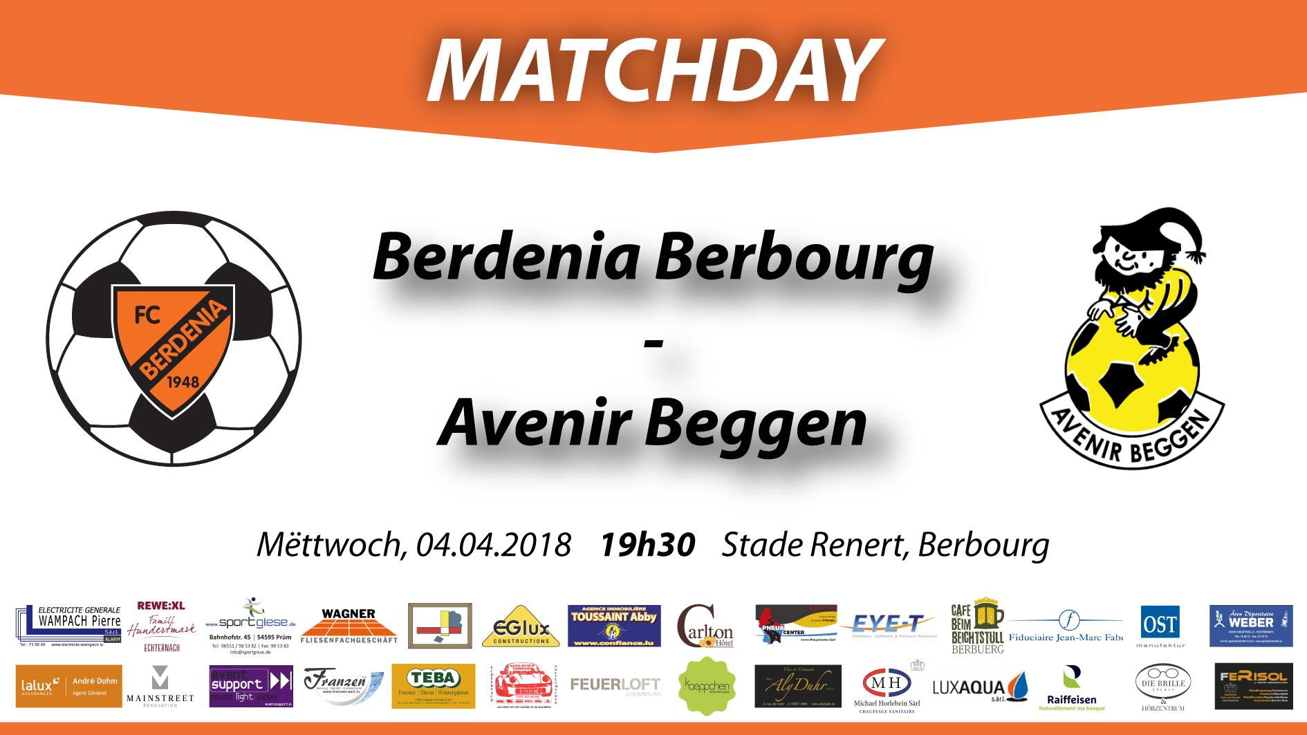 Matchday: FC Berdenia Berbourg - FC Avenir Beggen