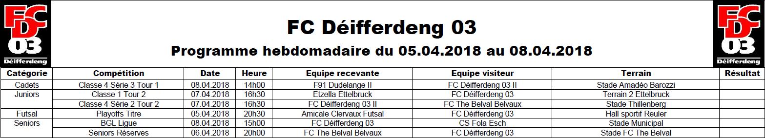 Programme du 05/04 au 08/04