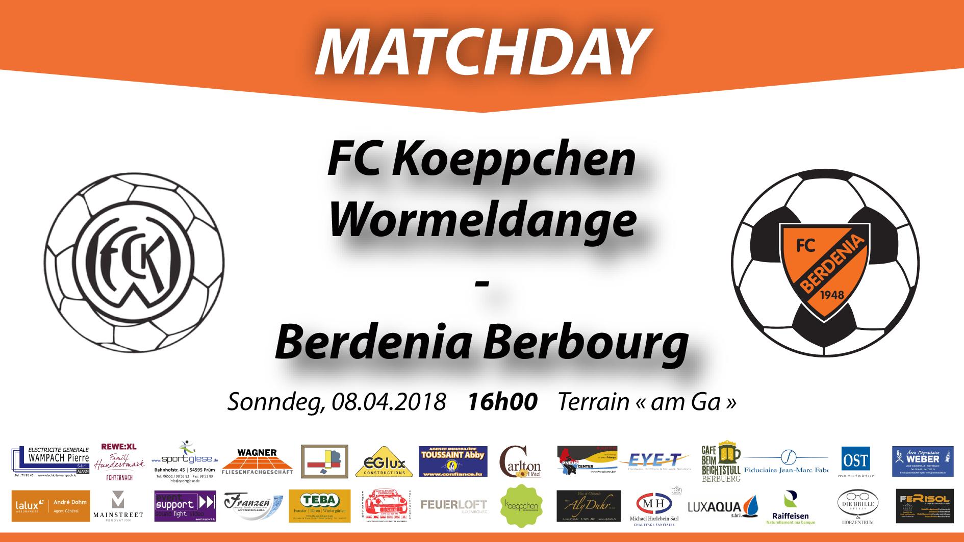 MATCHDAY: FC Koeppchen Wormeldange - FC Berdenia Berbourg