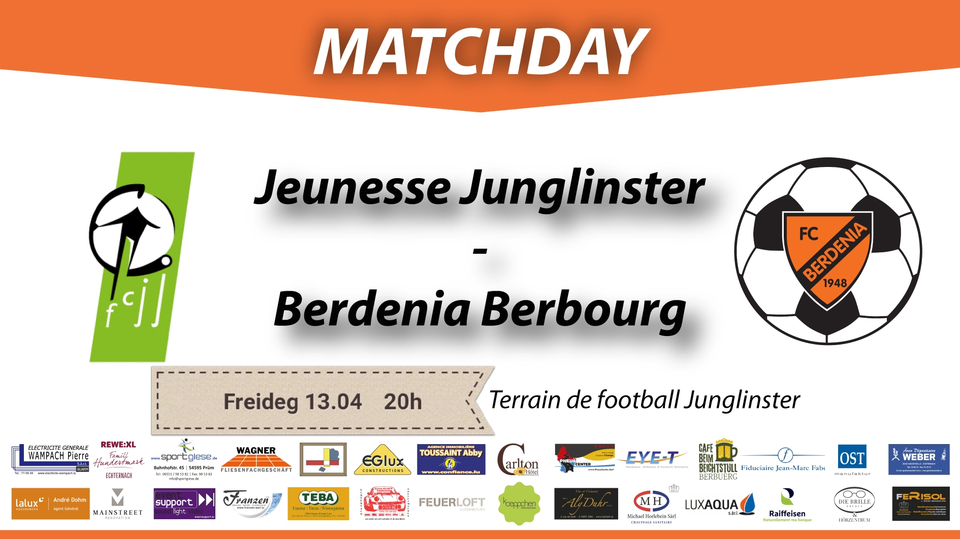 DERBYDAY: FC Jeunesse Junglinster - FC Berdenia Berbourg