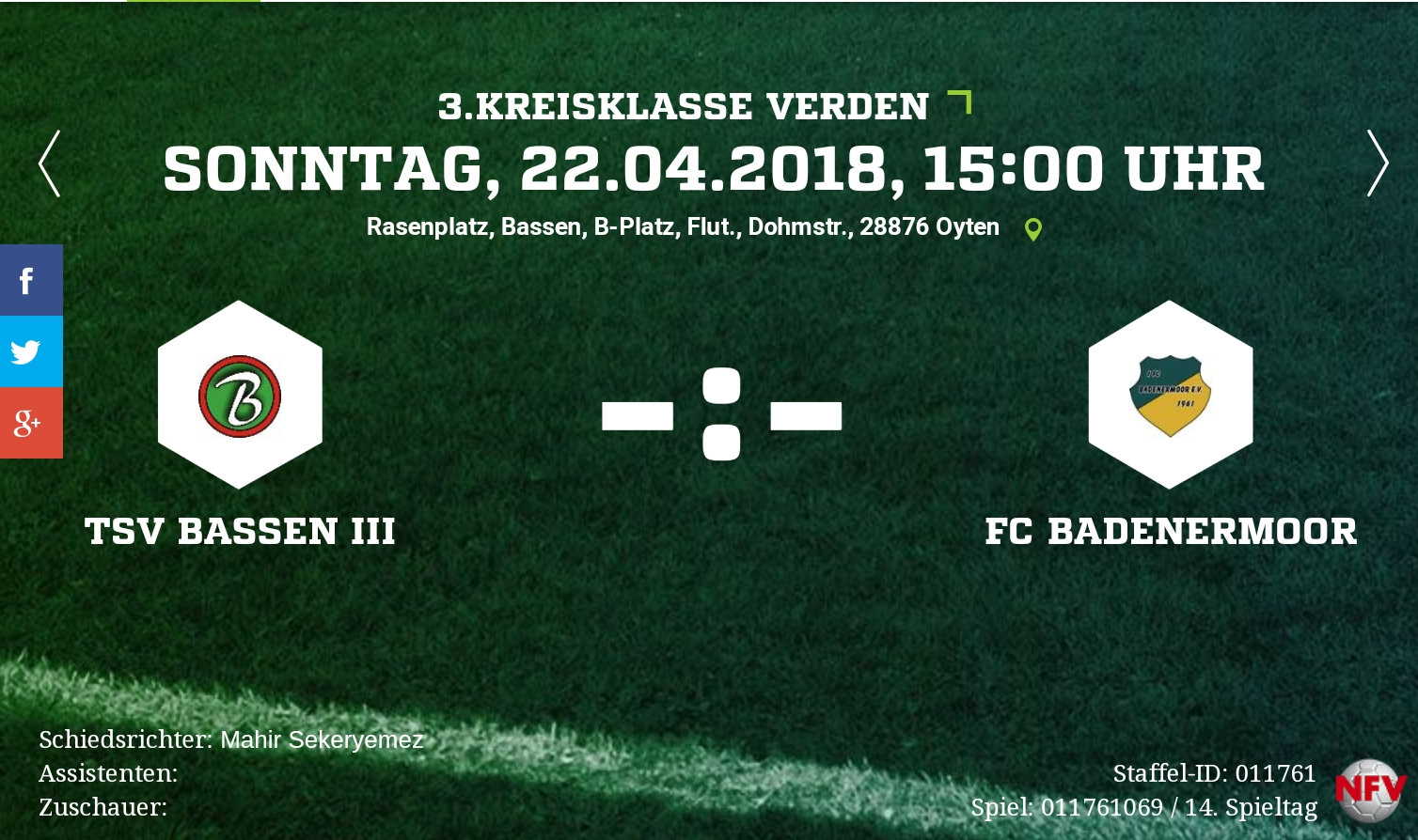 Auswärtsspiel  gegen TSV Bassen 3 + Rückblick