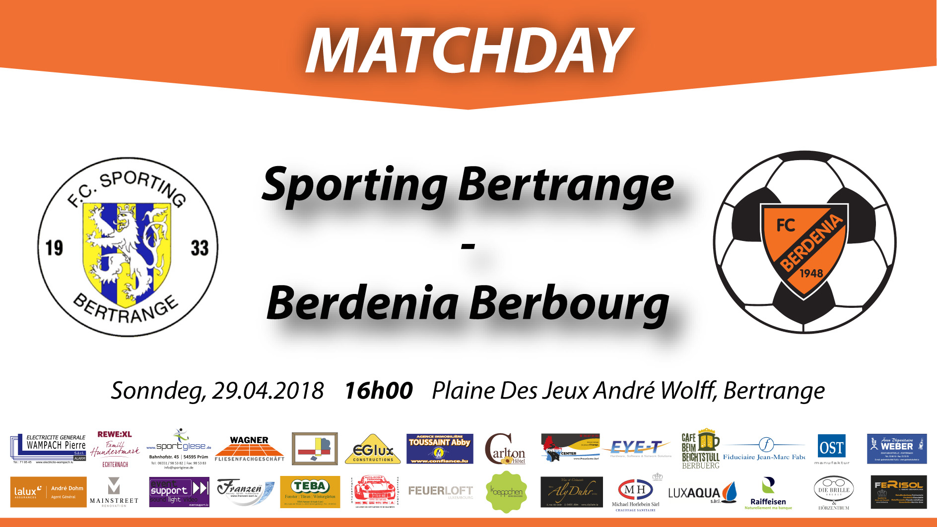 MATCHDAY: FC Sporting Bertrange - FC Berdenia Berbourg