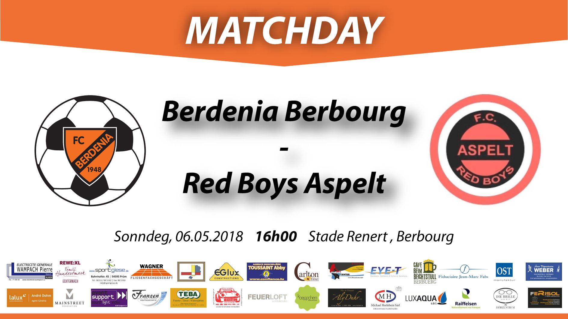 MATCHDAY: FC Berdenia Berbourg - FC Red Boys Aspelt