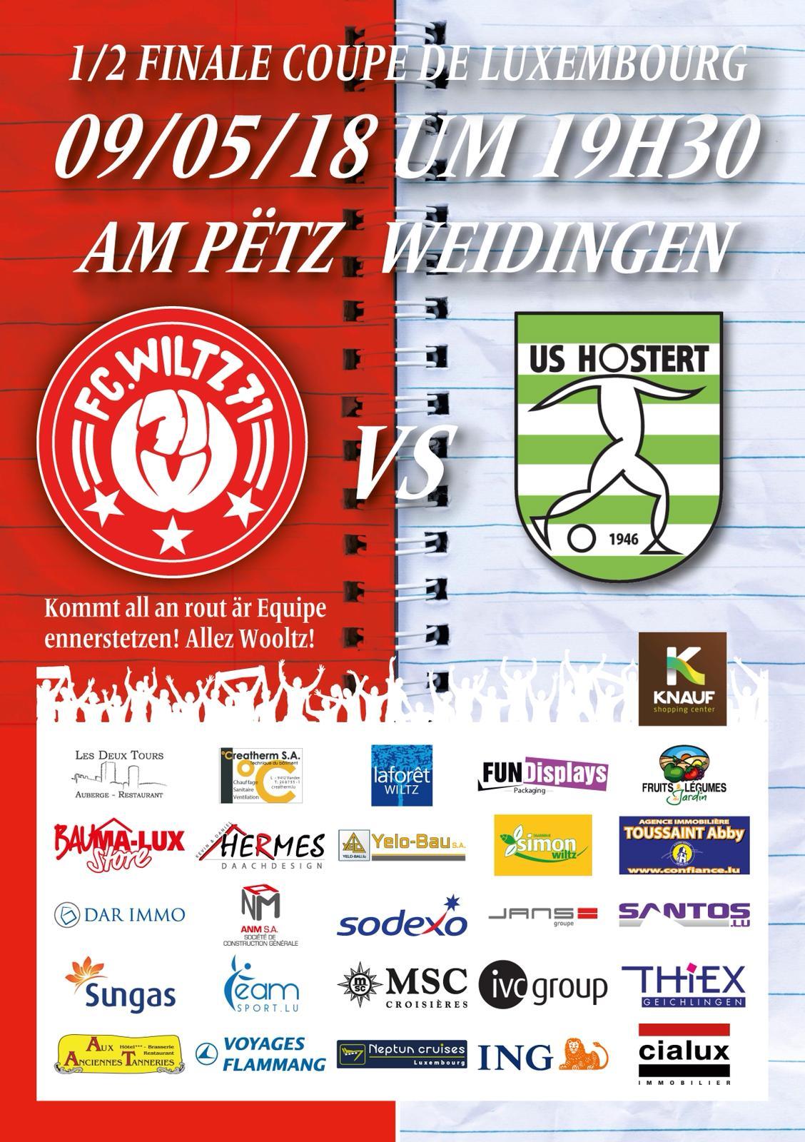 1/2 Finale Coupe de Luxembourg - FC Wooltz 71 vs US Hueschtert