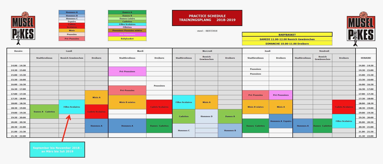 Trainingsplang (provisoresch) Saison 2018-2019