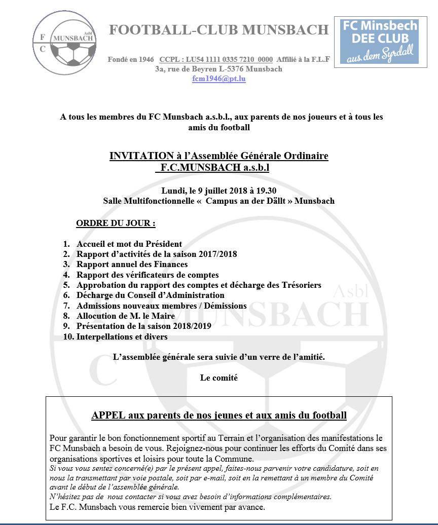 9 juillet 2018 : Assemblée Générale FCM