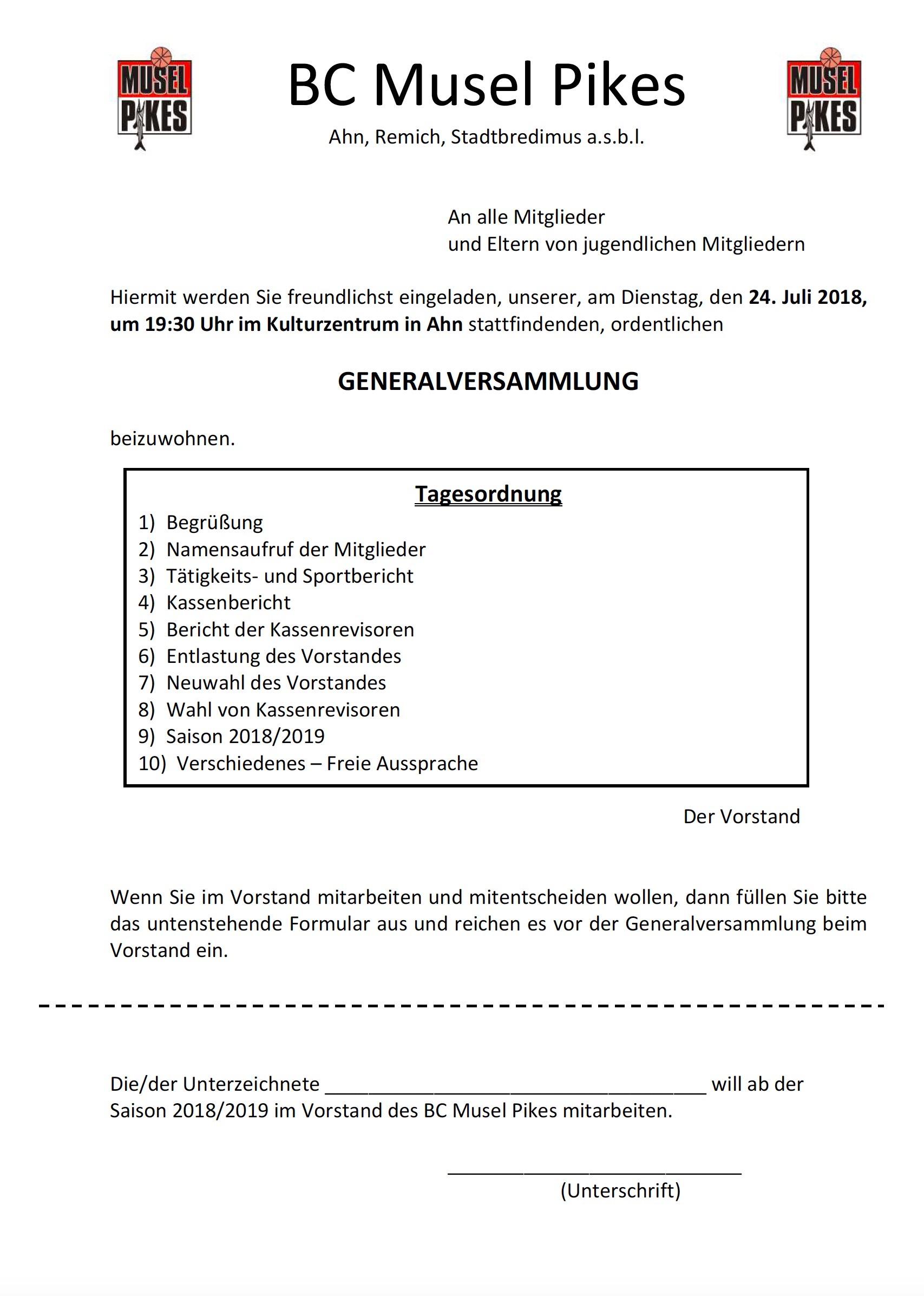 Generalversammlung den 24. Juli 2018 um 19:30 Auer zu Ohn