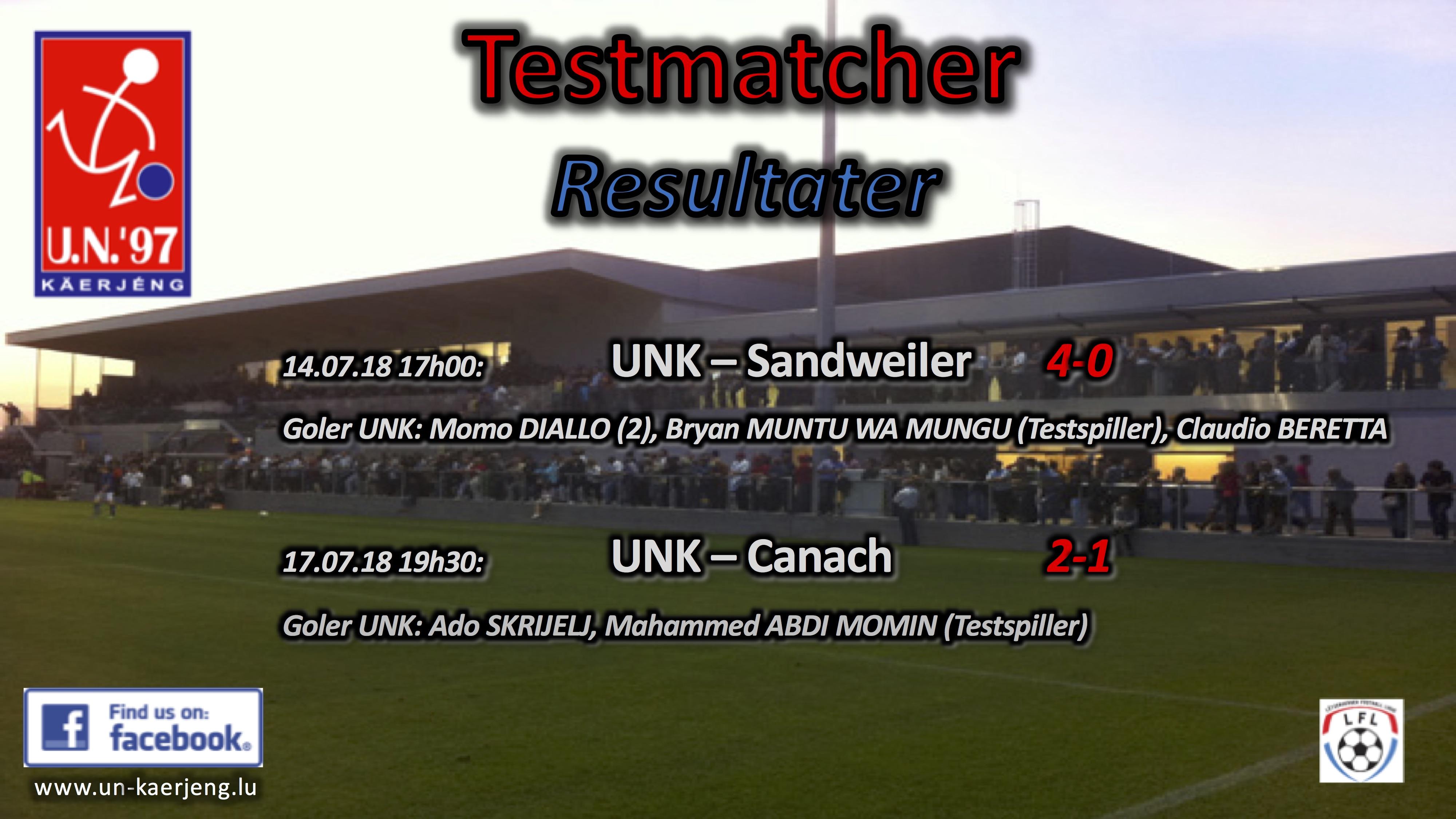 *** Resultater Testmatcher ***